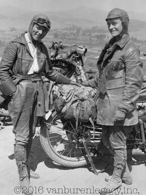 This 1916 photo provided Dan Ruderman shows his grandmother Adeline Van Buren, right, and her sister Augusta Van Buren, in Los Angeles during their cross-country motorcycle trip. A century ago, when the automobile was in its infancy and most roads in the United States weren't paved, the intrepid sisters from Brooklyn embarked on a remarkable journey, a 4,000-mile trek across the country, aboard two Indian motorcycles.