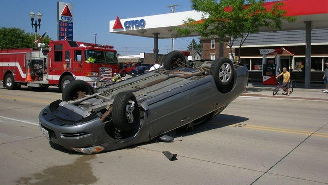 A one-vehicle rollover occurred Monday afternoon in downtown Two Rivers.