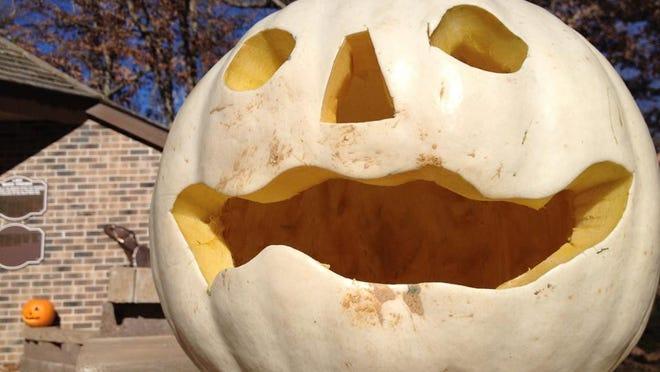 Carved pumpkins sat outside Lake Maria State Park's trail center last season.