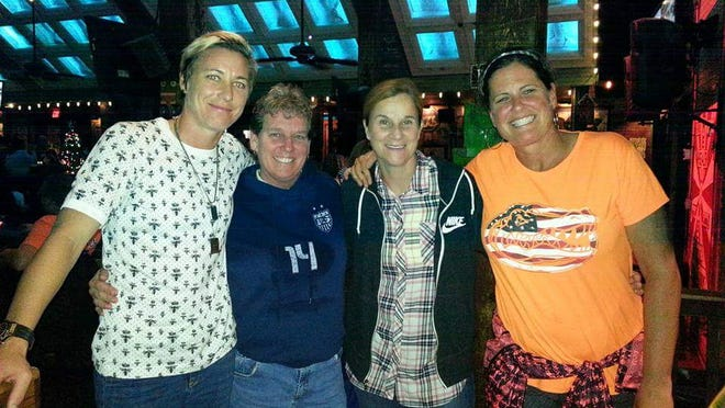 Photo caption: Abby Wambach and her coaches through the years: Kathleen Boughton (Mercy), Jill Ellis (U.S. Women's National Soccer Team), Becky Burleigh (University of Florida) photo provided by BCSD