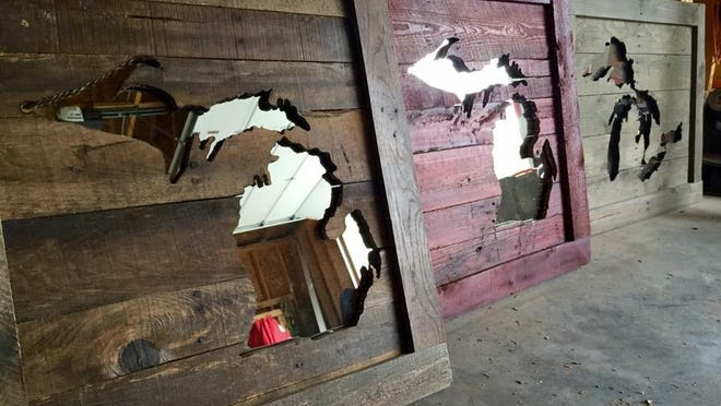Gulliver-based Two Sues makes mirrors and coat racks from reclaimed wood.