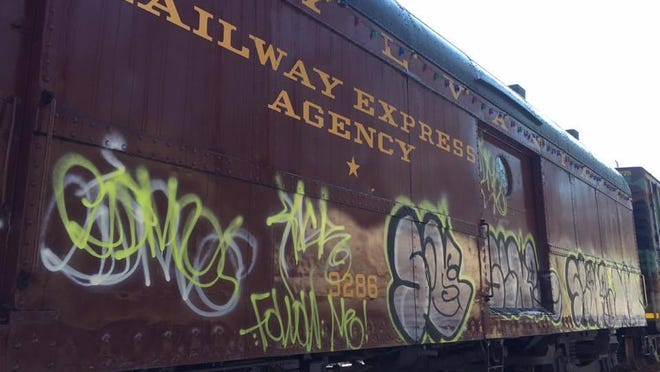 Graffiti was found on historic trains used to deliver Toys for Tots items during the holidays.