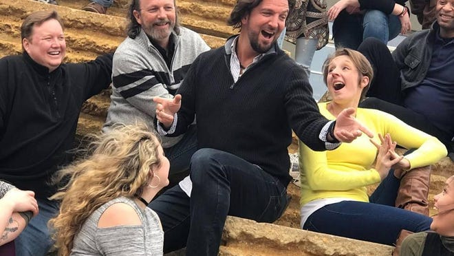 """Jesus Christ Superstar"" cast members Chip Holderman (Jesus) at center with Patrick Schuster, John Johnson, Gretchen Wright, and Derrick DeVonne King."