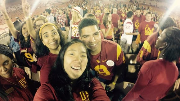 Melina Sutton takes a photo with her GoPro at a USC football game. (Photo courtesy of Melina Sutton)