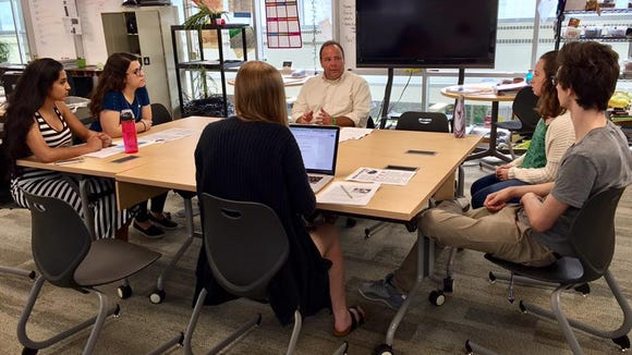 Tesserae yearbook staffmeeting with Assemblyman Phil Palmesano at Corning Painted Post High School