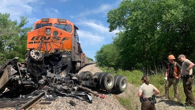 A semi-truck driver was injured in a Johnston County collision with a BNSF train Tuesday morning. The semitruck was reportedly pushed down the railroad tracks for one half mile.