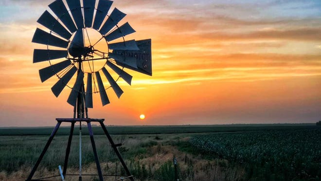 Unique in the world of windmills, this short version has stood for years on the Kiowa County prairie, bringing up water for cattle near Haviland. The sunset haze in the background on Saturday evening was due to dust in the air, not only from the usual last June 2020 wheat harvest activity but also from the Sahara desert dust cloud that has recently spread across the High Plains.