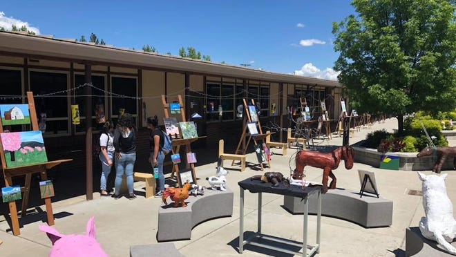 "Yreka High School students showed off art projects at an ""Art Walk outside the school in 2018. Students will be able to get back into the classroom 50% of the time when school begins Aug. 26, 2020 in the midst of the coronavirus pandemic."