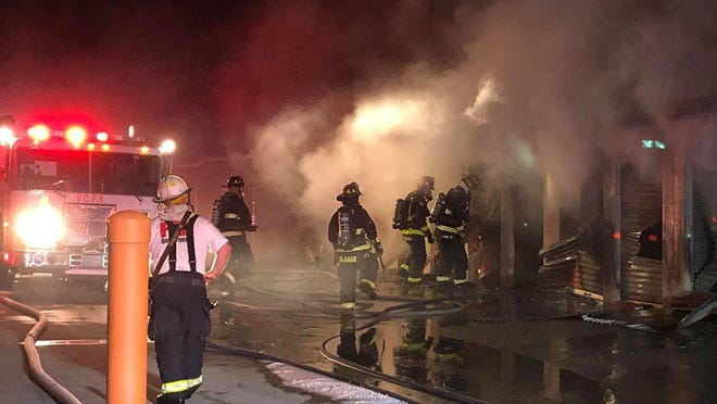 Multiple units of a storage facility in DeBary were damaged by a fire on Saturday night, authorities said.