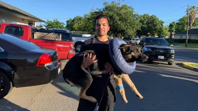 San Joaquin County sheriff's Deputy Alex Serrano with K-9 Kimbo.