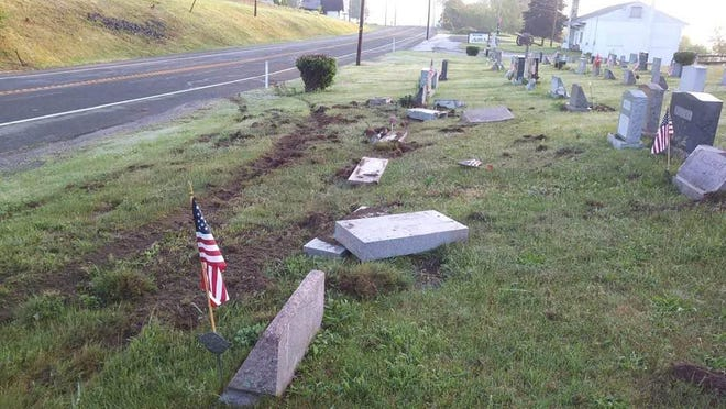 Several headstones in the Clove Cemetery on Route 23 in Wantage were damaged after police say a drunk driver knocked them over on Wednesday evening.