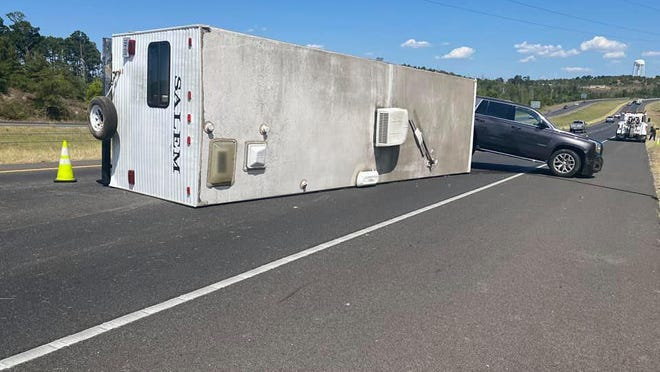 A trailer overturned along Texas 71 in Bastrop Thursday afternoon.