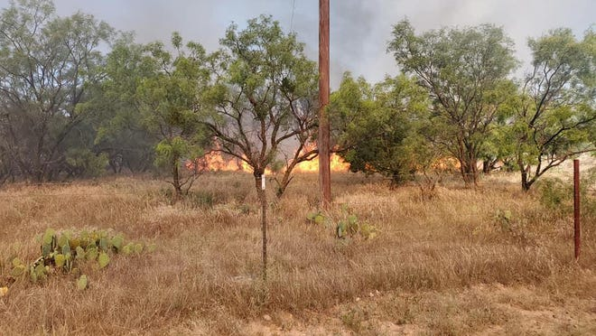 """The """"Weymeyer Fire"""" burned over 1,000 acres near Talpa, TX on Sunday. The tall, dried grass combined with a lack of rain and low humidity contribute to the rapid spread of wildland fires."""