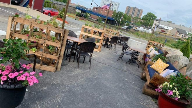 Outdoor dining area at the Tipsy Seagull in Fall River.