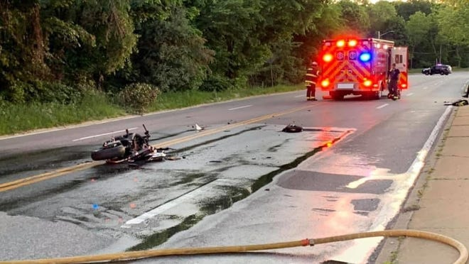 A motorcycle crash in Hingham sent one man to the hospital June 17, 2020. Photo by Mike Antoine.