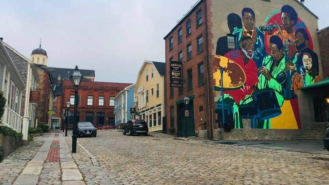 WCP recipient: Fiber Optic Center & NB Historical Society; Jazz Wall Mural by artist Kat Knutsen