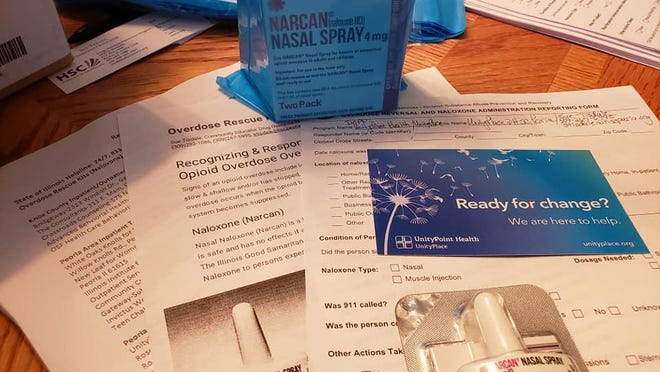 On Tuesday, Sue Tisdale will be outside Bridgeway in Galesburg from 11 a.m. to 1 p.m. where she will be handing out free overdose rescue kits, which contain two doses of nasal naloxone, along with training people how to use it.