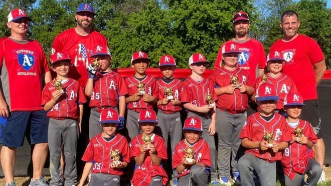 The Kewanee A's 8-and-under travel team went 4-1 and took second in the Battle of the Bats tournament in the Quad Cities. Front row, from left, Kade Nichols, Hudson Duytschaver, Jarek Welgat, Keagan Boston, Beckham Burkiewicz; second row, Theo Tavares, Quinton Weir, Benji Vargas, Jake Nichols, Garrett Franks, Brooks Little, Cruse Cernovich. Coaches are Jeff Little, Nate Nichols, Jeff Franks, John Cernovich.