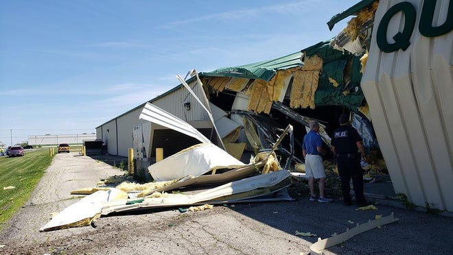 The old Peru Antique Mall was damaged earlier this week when a semi-trailer truck veered off nearby Interstate 80 and smashed into it.