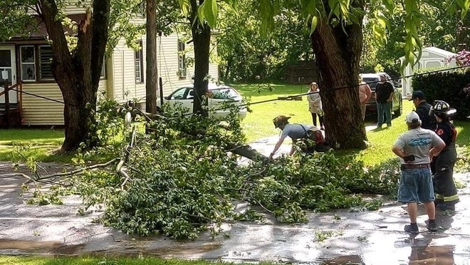 Downed tree limbs knocked out power to Onsted residents Wednesday after thunderstorms swept through Lenawee County. The majority of Onsted Consumers Energy customers were still without power Thursday.