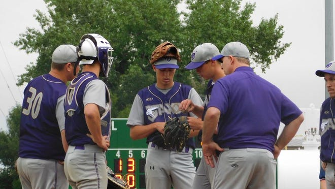 Bryant Haas (center) got one of the three hits for the Wabasso Jaxx in its recent game against the Milroy Yankees.