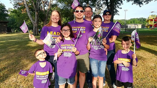 Julie Felan, pictured with her family. Julie is a walk team captain for Rolla's Walk to End Alzheimer's. Julie is also a committee member.
