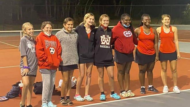 The WHHS Girls Tennis team is (from left): Isabella Hiller, Harleigh Peeples, Autumn Williams, Sheyenne Sparks, Leigh Anna Brown, Jakyrianna Jones, Faizah Rivers, Alexis Deloach.
