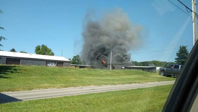 A building owned by a local lumber company caught fire Saturday afternoon.
