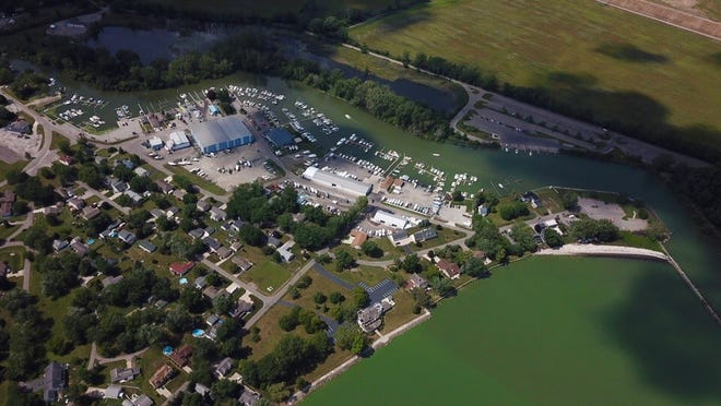 An aerial view of the Bolles Harbor area in Monroe Township is pictured. The greenish tint to the water indicates algae.