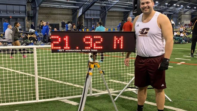 Coldwater graduate Logan Targgart, shown here after his personal best throw in the weight throw, recently announced his transfer to Indiana University after Central Michigan cut their men's track and field program.