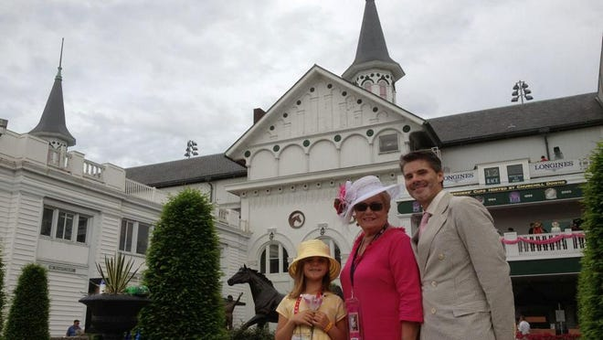 Artist Derek Gores attended the 2013 Kentucky Derby festivities with his daughter, Kathryn, and his mother, Cathy Belcher.