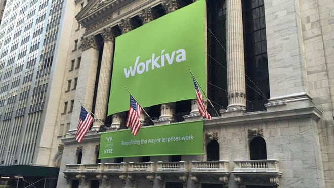 A Workiva banner hangs outside the New York Stock Exchange in early 2015.