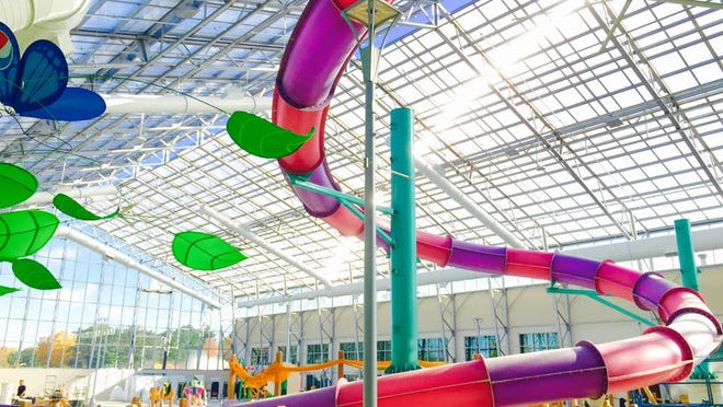 The Atrium Waterpark opens to the public on Friday and features a six-story slide and an activity pool with water geysers.