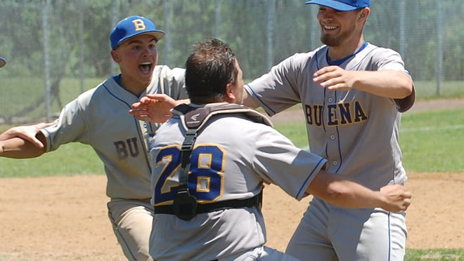 Buena pitcher Denny Brady (right) gets ready to hug catcher Nick Caporale after a 4-1 win over Bernards in the Group II state final on Saturday.