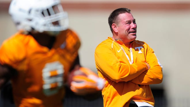 Tennessee Head Coach Butch Jones during Tennessee Volunteers spring practice at Anderson Training Facility in Knoxville, Tennessee on Tuesday, April 11, 2017.