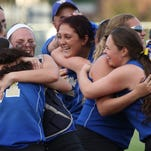 Webster Schroeder celebrates its Class AA final win against Victor on May 27, 2016.