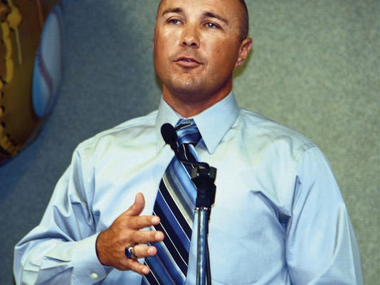 Matt Hollinshead — Current-Argus Carlsbad baseball coach Cody May speaks at the team's banquet Monday at the Leo Sweet Center.