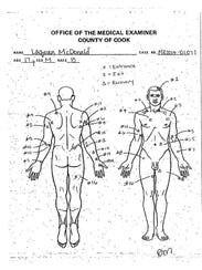 This undated autopsy diagram provided by the Cook County