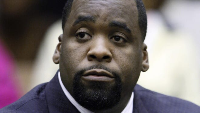 In this May 25, 2010 file photo, former Detroit Mayor Kwame Kilpatrick sits in a Detroit courtroom. Rev.  Trump has commuted the prison sentence of Kilpatrick, who has served about seven years of a 28-year sentence for corruption. The announcement Wednesday morning, Jan. 20, 2021, was part of a flurry of clemency action in the final hours of Trump's White House term.