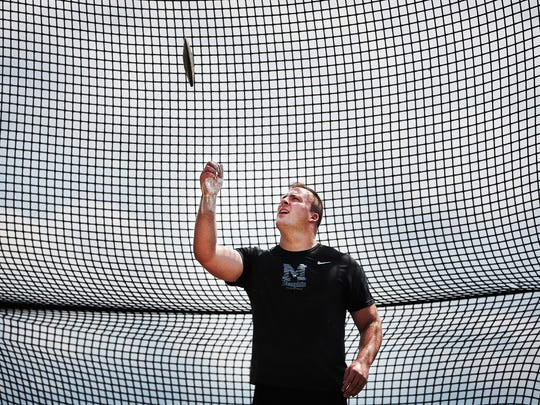 Luke Vaughn warms up during practice as he prepares for the USA Track and Field Outdoor Championships. Vaughn became the first University of Memphis track and field athlete to win a national championship since 1981 when he won the national title in the discus.