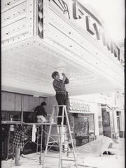 Marquee repair in the 1980s.