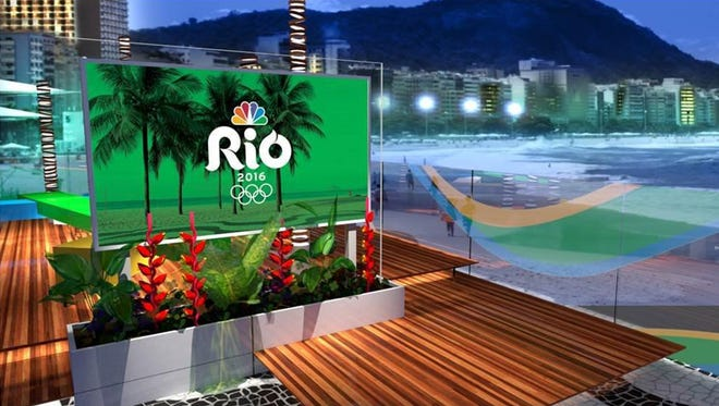 This photo provided by NBC and HD Studio shows NBC's daytime and late night set for the Rio Olympics located on Copacabana Beach in Rio.