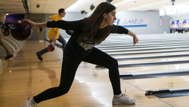 Lauren Marks of Parsippany bowls in the Morris County Tournament at Rockaway Lanes.