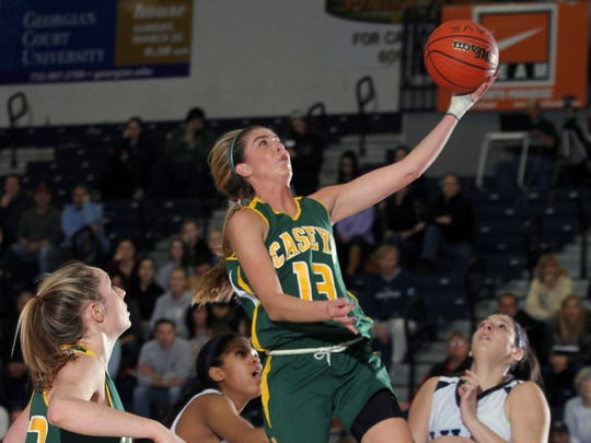 Red Bank Catholic's Grace Fallon goes up for the basket
