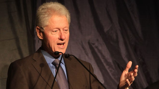 Former president Bill Clinton speaks at a fundraiser for Westchester Community College at the college in Valhalla.
