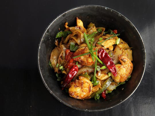 Chicken and shrimp Kung Pao from Teak in Red Bank.
