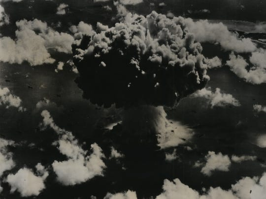 An atomic bomb is exploded amidst a fleet of 73 ships