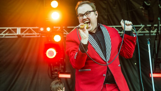 Paul Janeway of St. Paul and The Broken Bones performs at Austin City Limits Music Festival at Zilker Park on Sunday, Oct. 9, 2016, in Austin, Texas. (Photo by Amy Harris/Invision/AP)