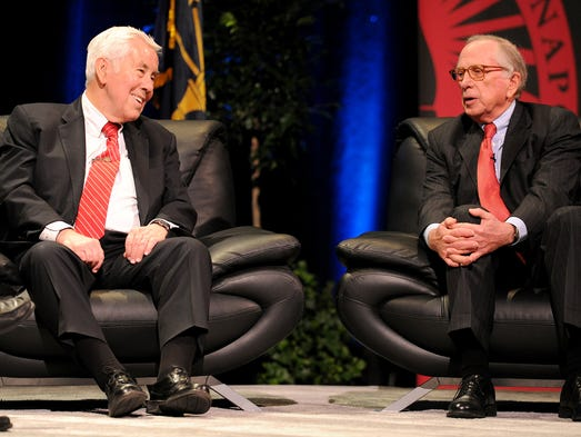 "Former Senators Richard Lugar, left, and Sam Nunn speak during a conversation titled ""Diplomacy in a Dangerous World"", Tuesday, February 25, 2014, at the University of Indianapolis."