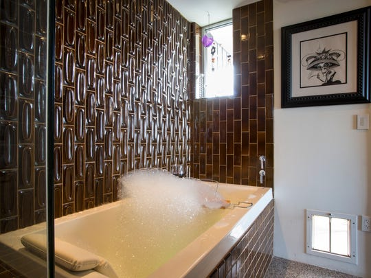 Japanese soaking bath with bubbles in one of Ben Bethel's penthouses in the Embassy Condominiums in downtown Phoenix.